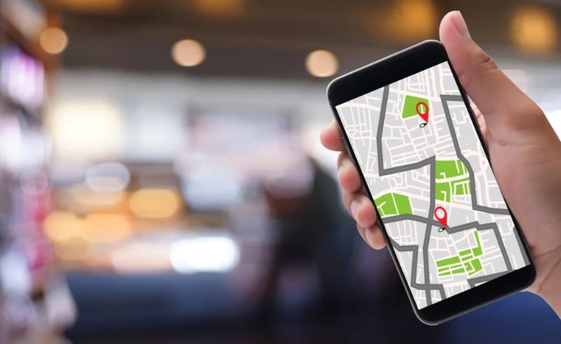 スマートフォンに表示されているマップ