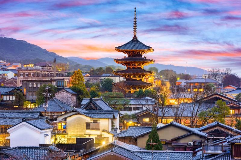 京都の美しい夕暮れ